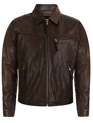 Men's Smart Brown Real Soft Genuine Cow Leather Classic Collar Harrington Jacket