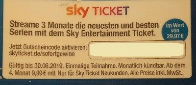 SKY Entertainment Ticket Streame 3 Monate neueste + beste Serien f. Neukunden