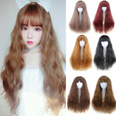 Heat Resistant Cosplay Party Women Wigs Long Curly Full Band Wig Synthetic Hair