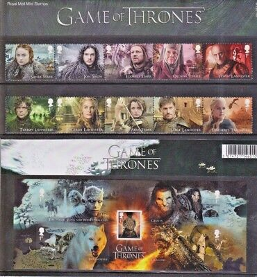 """GB. 17 MNH Stamps """"Game of Thrones"""" Presentation Pack 551.  +  P&G 28  +  FDC."""