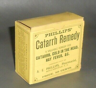 c1895 Antique Medical Box Phillips' Catarrh Remedy Quack Medicine Sinclairville