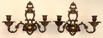 Superb Pair of Vintage French Empire Solid Bronze Candle Sconces !