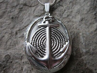 Stunning Anchor Silver Plated Locket - Naval, Nautical - Vacation - Cruise