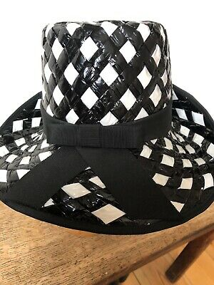 Fab Vintage Black And White Woven Hat. Exc Cond.