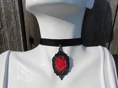 "Velvet Choker Necklace With Red Rose Cameo Pendant (3/8"")- Wedding, Victorian,"
