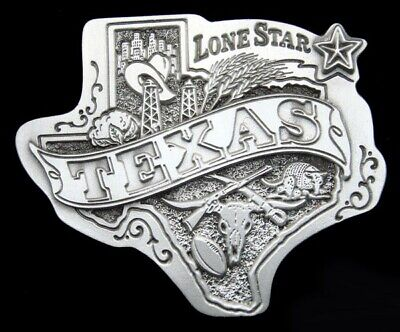 Rg22152 *Nos* Vintage 1980 **Texas - The Lone Star State** Pewter Belt Buckle