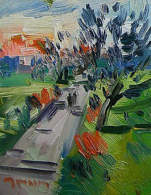 Jose Trujillo Oil Painting Impressionist Trail Walk Way Trees Pastures 116