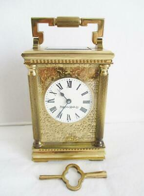 "Stunning Vintage Brass ""mappin & Webb"" Carriage Clock Mechanical Wind + Key Gwo"