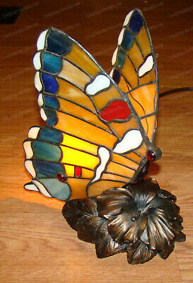 Vintage Tiffany Style Butterfly Stained Glass Lamp