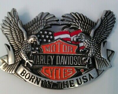 Harley Davidson Baron Brass Belt Buckle Bar and Shield and flag with Eagles  vtg