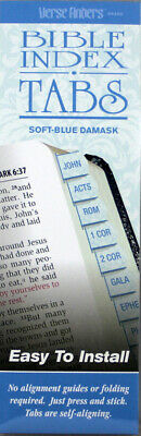 Bible Index Tabs Verse Finders NEW Soft-Blue Damask Old&New Testaments Thin Pack