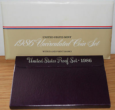1986 Proof and Uncirculated Annual US Mint Coin Sets PDS 15 Coins