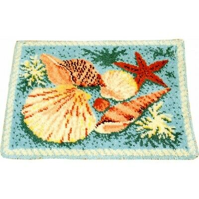 Latch hook rug kit Romney wool,stencilled canvas, Readicut Sea shells design.