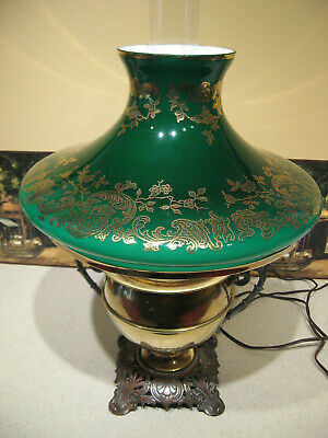 Antique Juno Brass &  Green Glass Oil Lamp Embossed w/Gold Overlay/Electrified