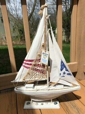 "BEACHSIDE NEST Wooden Sailboat Coastal Home Decor NWT 24.5"" x 17"""