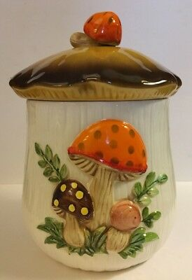"Sears Roebuck Merry Mushrooms Med/Large Canister 9"" Tall On Stranger Things"