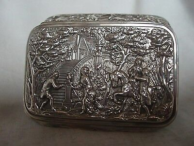 Picture Top Snuff Box Edwardian Sterling Silver Birmingham 1904