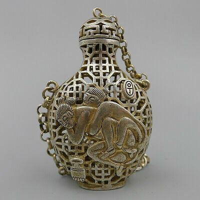 Chian Pendant Relief Nude Hand Carved Hollow Natural Antique Silver Snuff Bottle