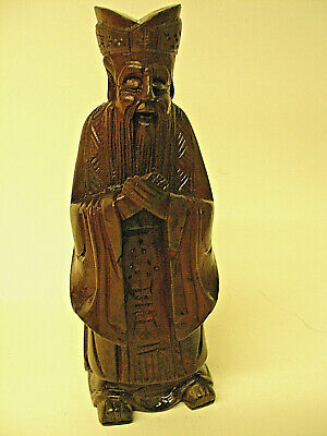 Vintage Hand Carved Wooden Art Figurine Asian Priest Deity Wiseman Wood Holyman