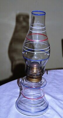 "Antique oil lamp - unusual red white blue stripes on font and chimney 13"" tall"