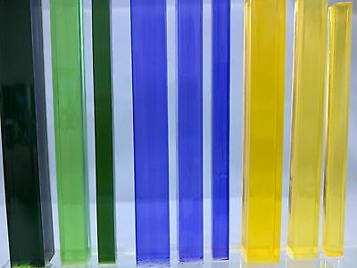 Square Tinted Colour Acrylic Rod Extruded Perspex Bar Green Purple & Yellow
