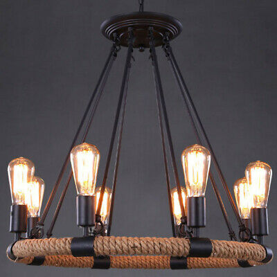 Farmhouse LED Chandelier Lighting Industrial Country Wrought Iron Pendant Lights