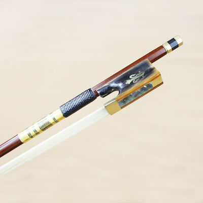NEW 4/4 Size Pernambuco Violin bow Ox Horn Frog Fleur-de-lis Inlay Gold Mounted