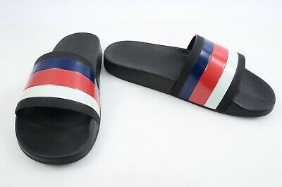 5e05f20ed Gucci Pursuit 72 black multi 9 signature stripe pool slide sandal UK8 shoe   210