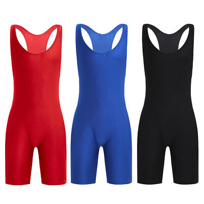 Men's Solid Modified Lycra Wrestling Singlet Leotard Bodywear Uniform Underwear