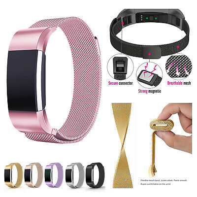 for Fitbit Charge 2 Replacement Strap Milanese Band Metal Stainless Steel Magnet