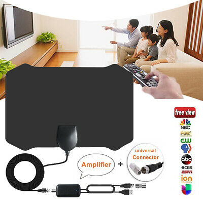 Digital HDTV Indoor Freeview Antenna with TV Aerial Amplifier 480Mile Range-Thin