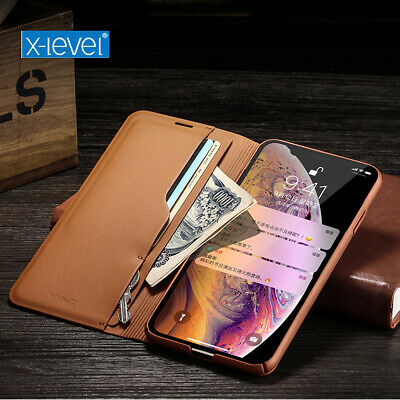 Orginal X-Level Retro Genuine Leather Flip Case Stand Cover For iPhone XS Max XR
