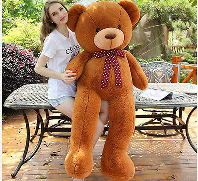 63''Giant Huge Stuffed Animals Dark Brown Teddy Bear Plush Bears Toy Doll Gift