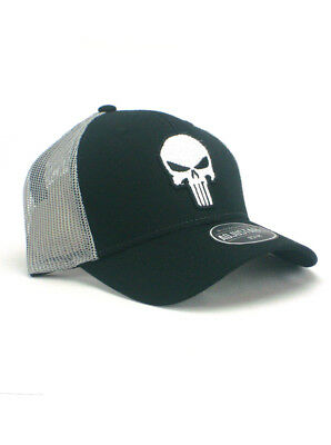 The Punisher Hat Adjustable Skull Logo Marvel Comics Black White New With Tags