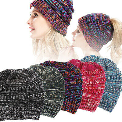Womens Tail Messy Beanie Bun Hats Ponytail Stretchy Knitted Crochet Skull Cap