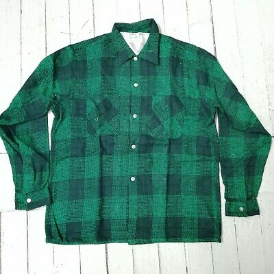 Vintage Men's Green Hood by Kevin Curtis Plaid Shirt Size (M) (NEW & SEALED)