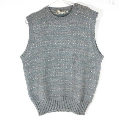 Vintage Nordstrom Town Square Gray High Quality Knitted Wool Sweater Top (L)