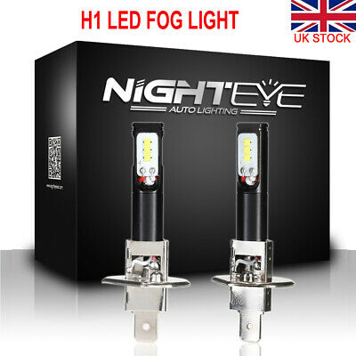 Nighteye 2X H1 1600LM 6500K Cool White LED Fog Light HeadLight Bulb Lamp 160W UK