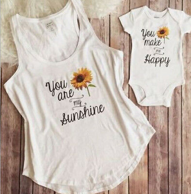 UK Mother Daughter Vest T-shirt Clothes Matching Family Tee Blouses Baby Romper