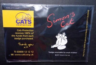 Pin Badge Simons Cat - Washing Leg  (Cats Protection Charity Listing)