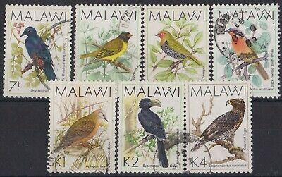 g805) Malawi. 1988. Used. SG 792/93/96/98/01/02/03 Birds