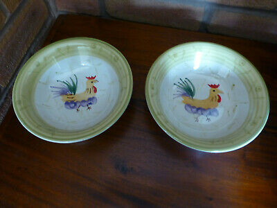 """Scotts Of Stow 7"""" Chicken / Cockerel Cereal / Soup Bowls X 2"""