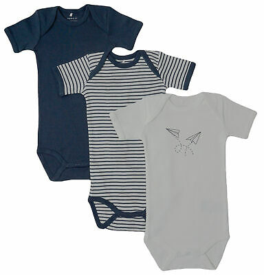 3er SET BODY Name It Baby Kinder Jungen kurzarm Bodys blau Einteiler