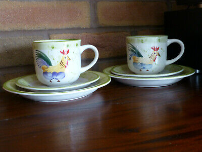 SCOTTS OF STOW CHICKEN / COCKEREL TRIO, Teacup, Saucer &  Side Plate x 2