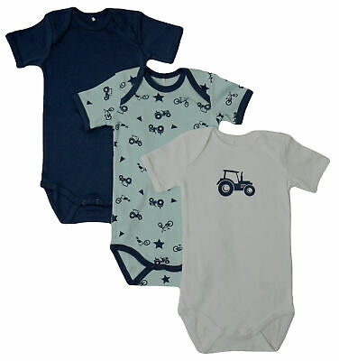 3er SET BODY blau Name It Baby Kinder Jungen kurzarm Bodys Einteiler