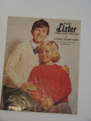 "Knitting Pattern Lister Chunky Child's Aran V or Crew Neck Sweater 26-30"" N1847"