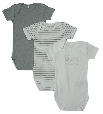 Name It Kinder Mädchen Jungen Body Bodies 3er Set kurzarm grey melange