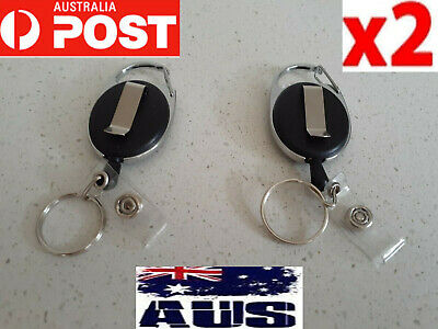 2X Retractable badge holder reel swipe card security ID key pull ring tag clip