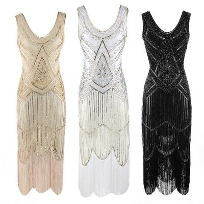 Gatsby Flapper 1920s Beaded Vintage Fringe Sequin Sleeveless Women Party Dress
