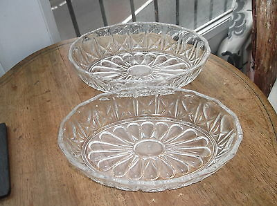 Pair Vintage Retro 60'S Vmc Reims Oval Glass Nibbles Dishes Pink Glow Under Uv
